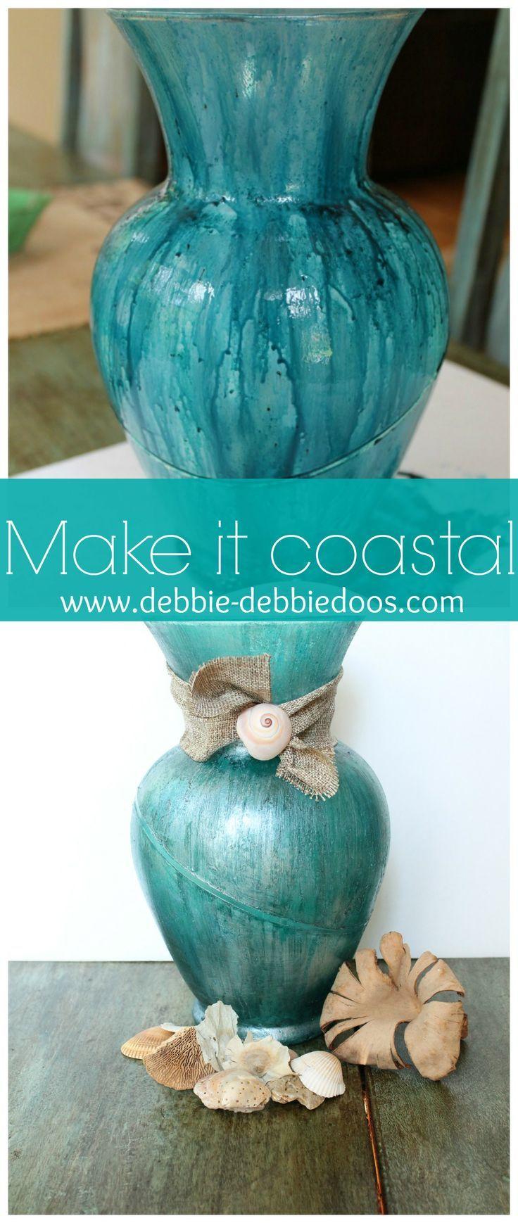 #Coastal vase. #Paintingonglass #Ritdye