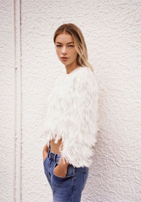 Glassons - Luxe Fringe Top and Slim Boyfriend Jean