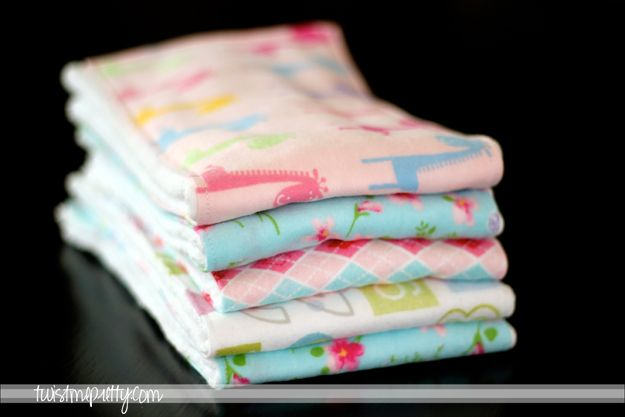 Obsessed with these burp cloths made from cloth diapers!  They are our best burp cloths!
