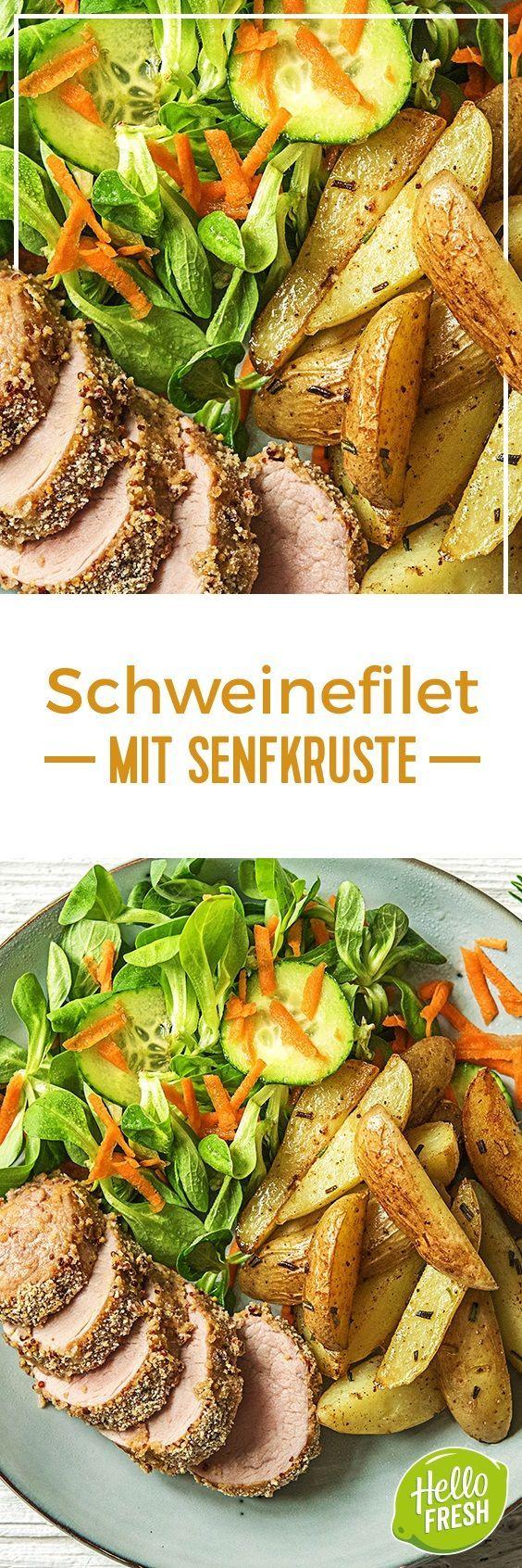 Step by Step Rezept: Saftiges Schweinefilet mit Senfkruste Rosmarindrillingen und buntem Feldsalat  Kochen / Essen / Ernährung / Lecker / Kochbox / Zutaten / Gesund / Schnell / Frühling / Einfach / DIY / Küche / Gericht / Blog / Leicht / selber machen / backen / 30 Minuten / Laktosefrei / Filet  #hellofreshde #kochen #essen #zubereiten #zutaten #diy #rezept #kochbox #ernährung #lecker #gesund #leicht #schnell #frühling #einfach #küche #gericht #trend #blog #selbermachen #backen…