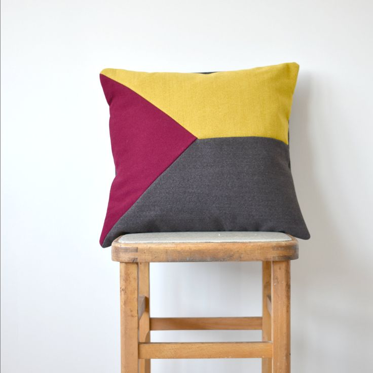 Luxury Grey, Yellow and Red Geometric Design Wool Cushion by WagnerBirtwistle on Etsy