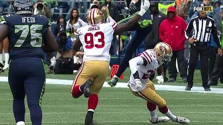Seattle Seahawks tight end Luke Wilson hurdles defender and picks up 19 yards.