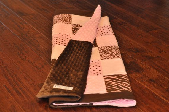 Sweet, pink and brown baby girl quilt. Perfect for modern pink and brown nursery!