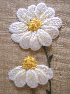 Royal School of Needlework Stumpwork Daisies by Kelley Aldridge