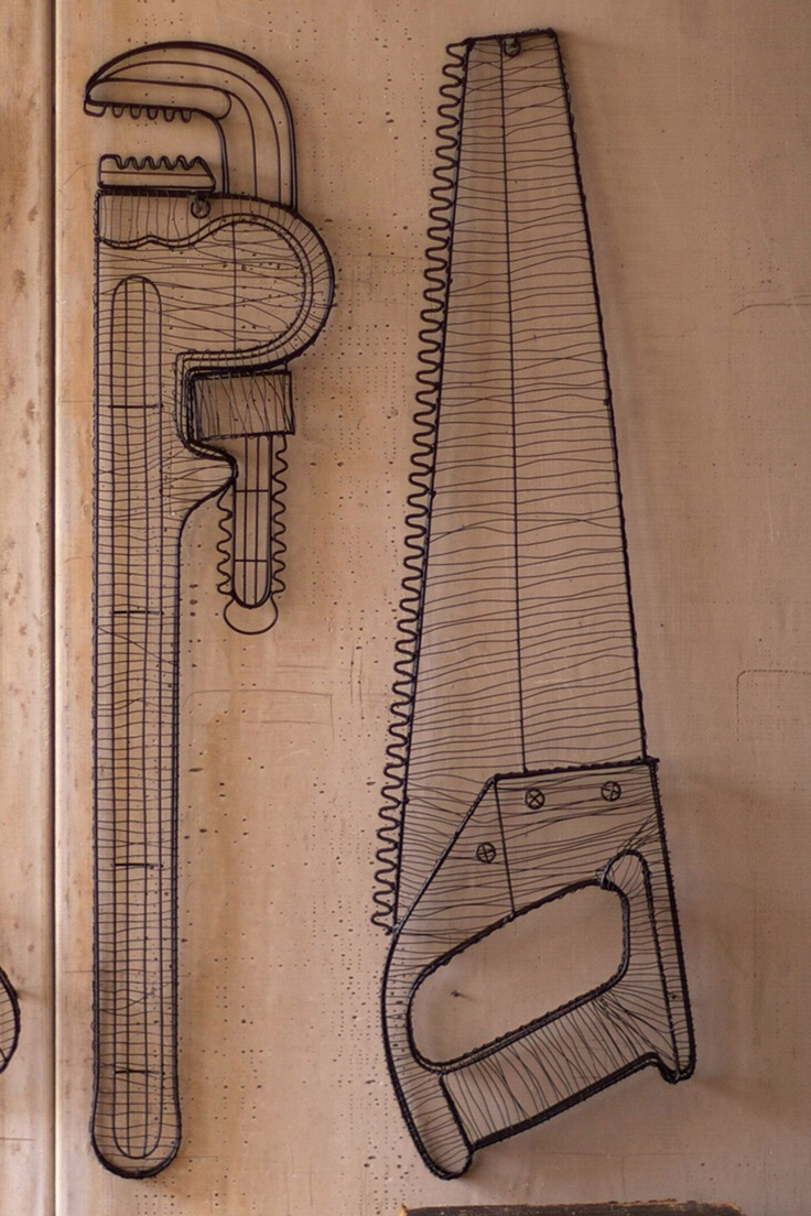 Industrial Wall Saw : Industrial home and holiday decor wire saw wall sculpture