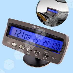 Termometro Temperatura Volmetro Digitale Display per Auto 2in 1