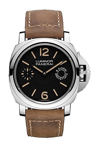 Limited Edition of 1000 Pieces Stainless steel case with a tan leather strap. Fixed stainless steel bezel. Black vintage dial with luminous hands and index hour markers. Arabic numerals mark the 6 and...