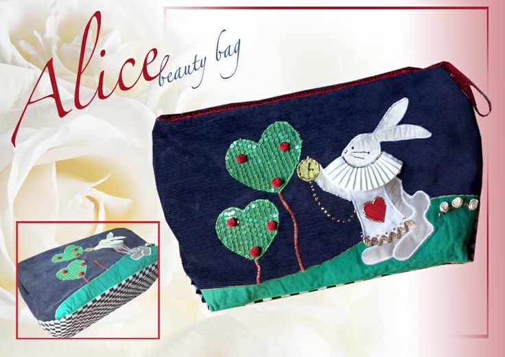 Alice in wonderland beauty bag/ white rabbit