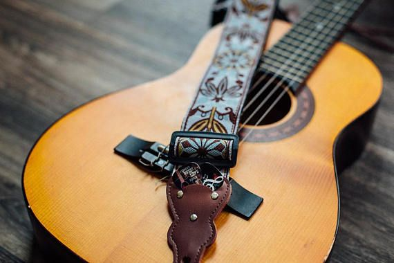 Vintage Guitar Strap Woven Guitar Strap For Acoustic Guitar Etsy Guitar Strap Vintage Guitar Strap Bass Guitar Gift