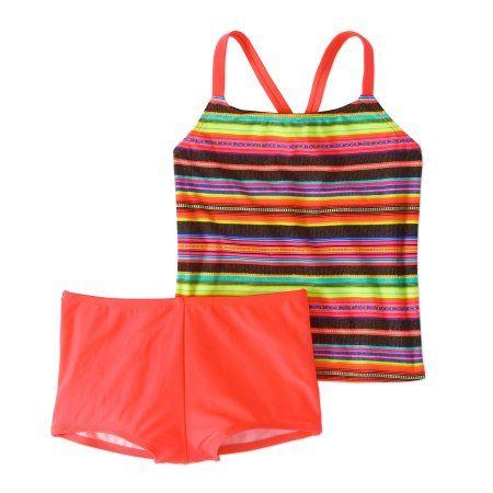 2ff4e57b7d Wonder Nation Girls' Blanket Stripe Cross Back Tankini Boyshort Swimsuit