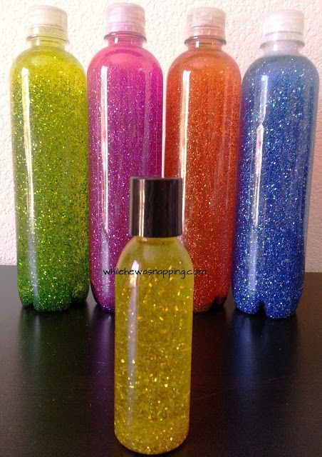 """Sparkle bottles. Can use them as a """"timer"""" to cool down once the glitter settles!!"""
