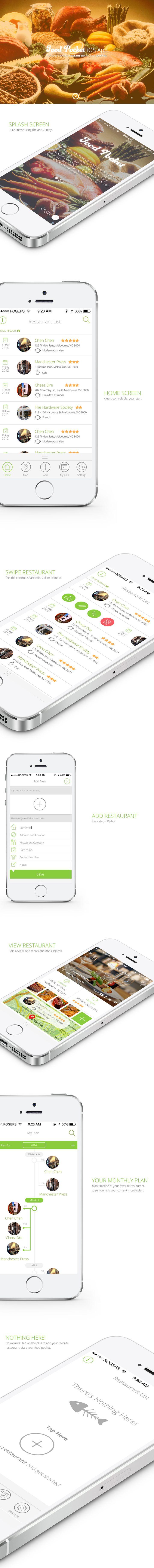 FoodPocket iOS App by nasserui, Restaurant App Template, food theme