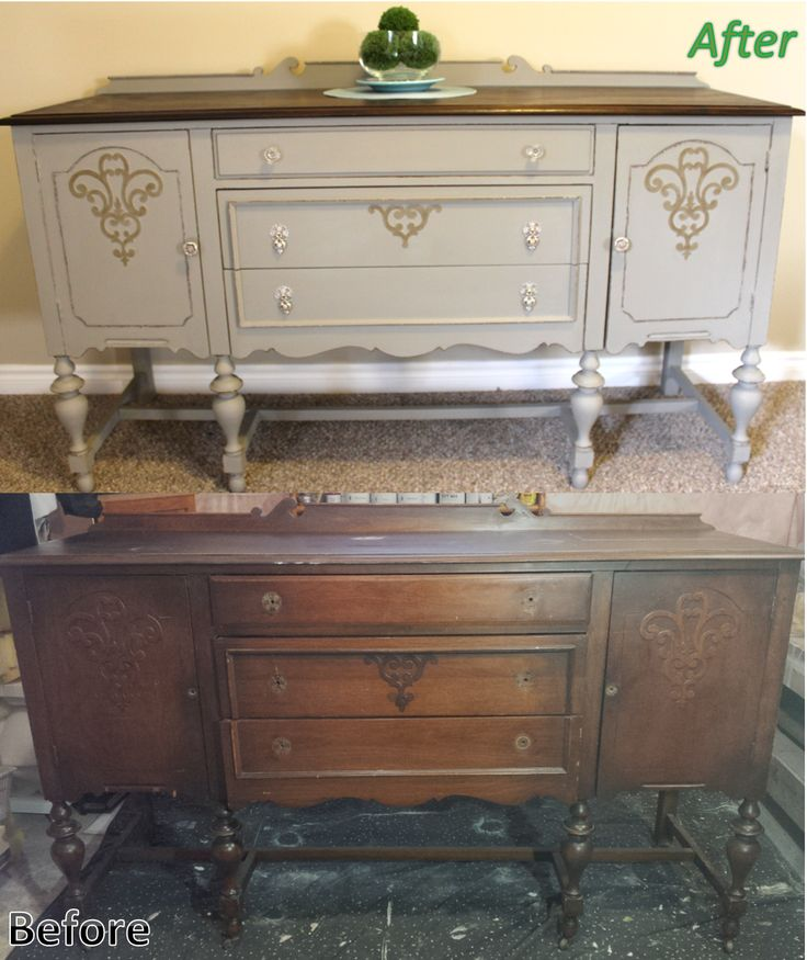 Antique Solid Cherry Refinished Sideboard Buffet Annie Sloan Chalk