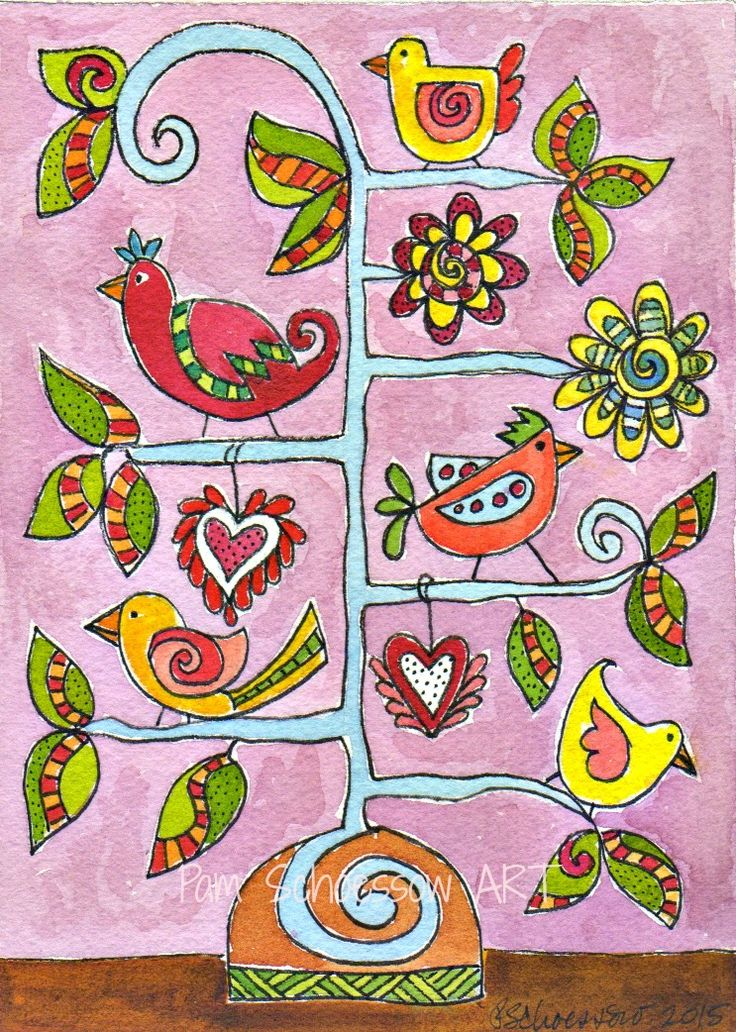 The Bird Tree 5 x 7 inches on watercolor paper  by Pam Schoessow  pamelajeannestudio.com