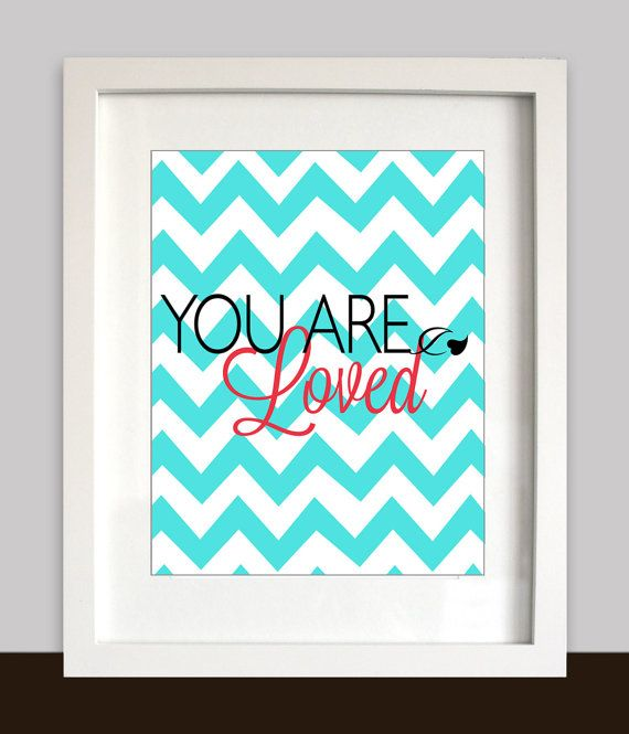 Mint Pink Kids Decor You Are Loved Nursery Wall Art by IndigoRain, $15.00