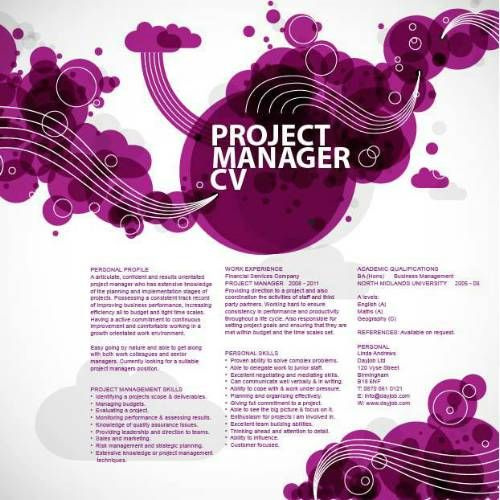 a artistic project management cv example with a purple background