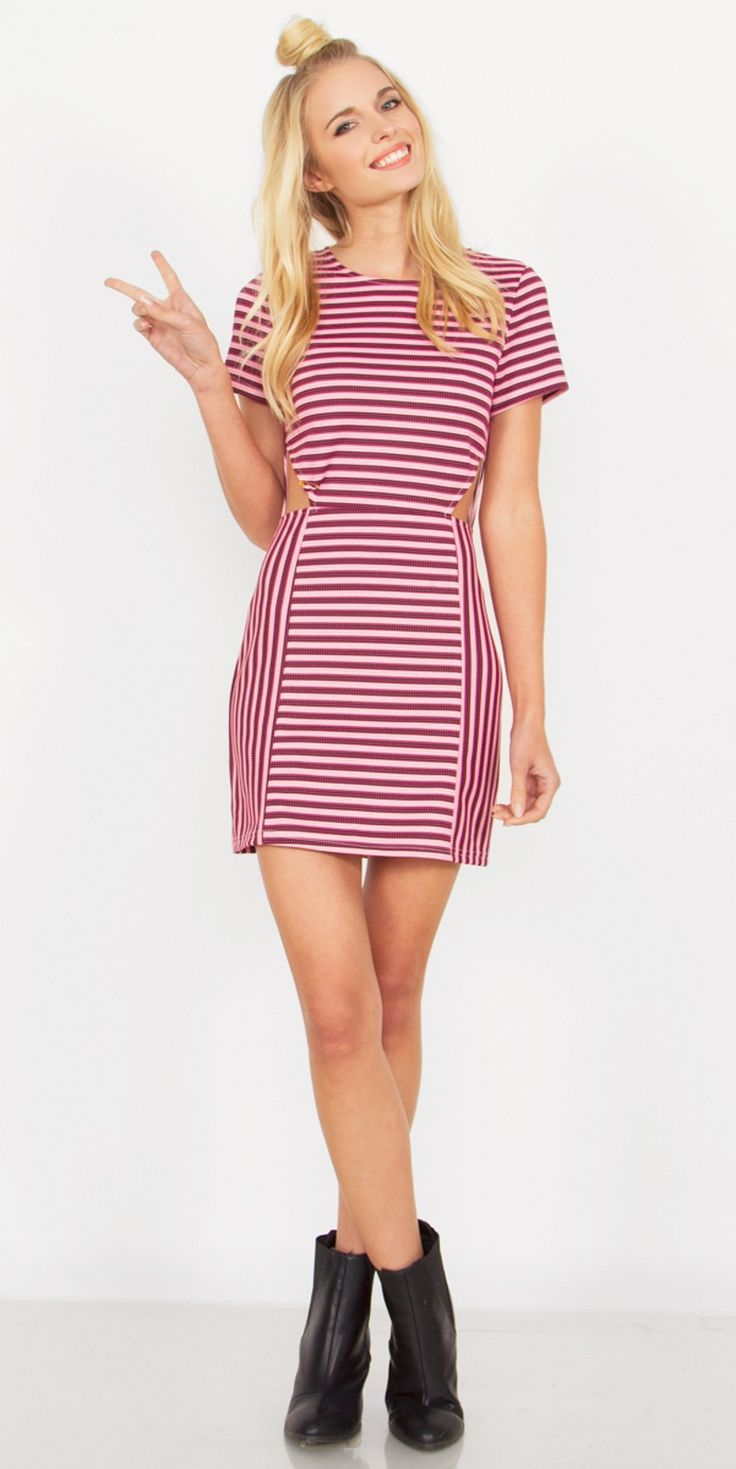 Candy Cane Dress $34.96 Pink striped dress with cutouts on the sides. Exposed zipper closure on back.
