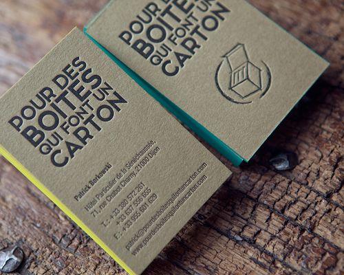 Cartes de visite impression noire recto verso sur papier couleur kraft // letterpress business card in heavy kraft paper