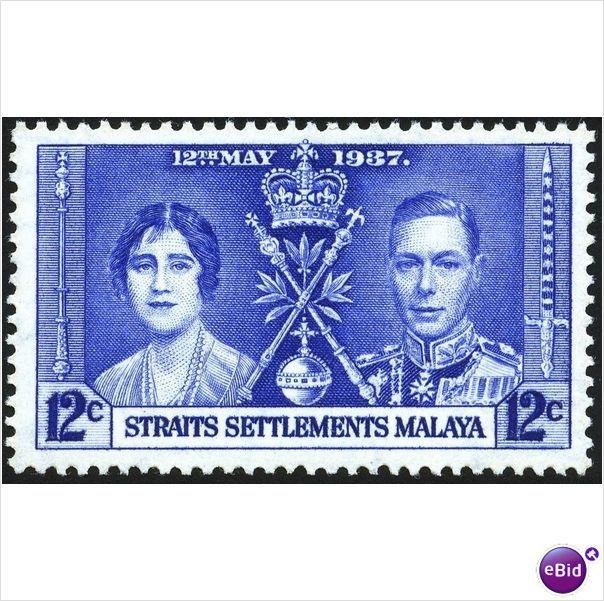 Malaya Straits KGVI 1937 Coronation 12c Mounted Mint MM SG 277 Sc 237 CD 302 Listing in the Malaya (Straits Settlements),Malaya & Malaysia & S. Setts.,Commonwealth & British Colonial,Stamps Category on #eBid United Kingdom