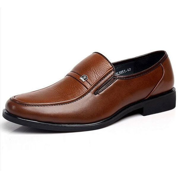 Mens Leather British Style Brown Flat Formal Business Casual Shoes