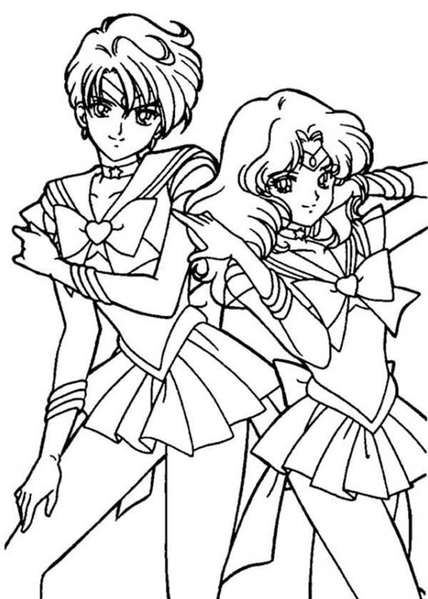 Sailor Neptune And Mercury In Moon Coloring Page