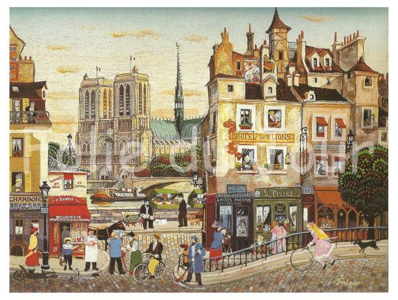 Painting of an ideal paris and notre dame during the for Ideal paris