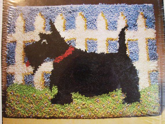 Black Scottie Dog Latch Hook Kit Vintage 1980s Scotty Dog Latch Hook Rug Kit by TreasuresPast4U