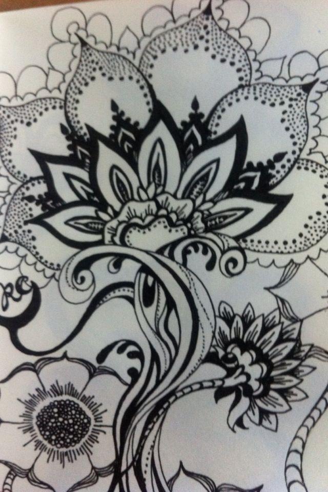 Hand Drawn Flowers Zentangle Pinterest Design