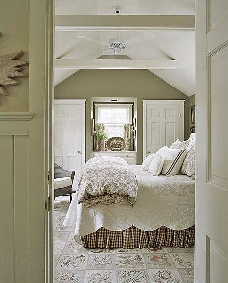 Taupe and white cottage bedroom