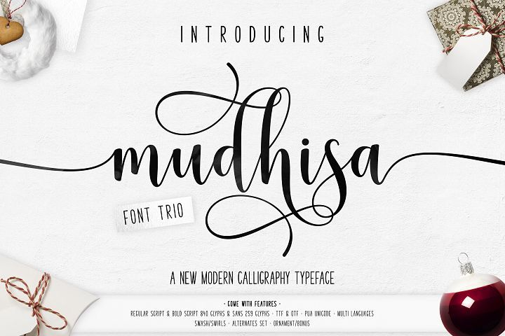 Mudhisa Script Font Trio from FontBundles.net