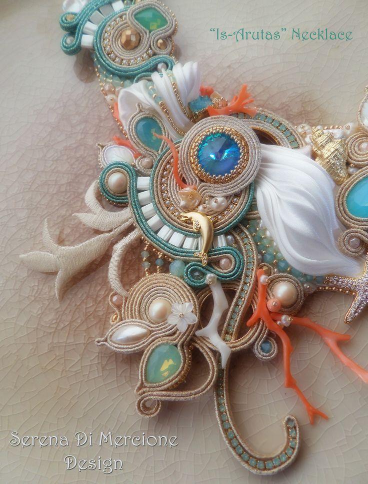 """""""Is Arutas"""" Necklace (detail), designed by Serena Di Mercione. - Shibori silk, soutache, swarovski, pearls, coral."""