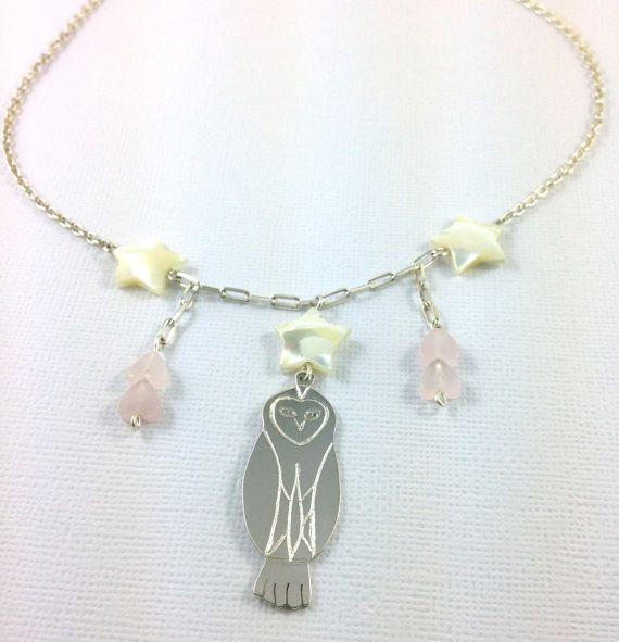 Owl and star necklace.Made from sterling silver, mother of pearl and rose-quartz beads.