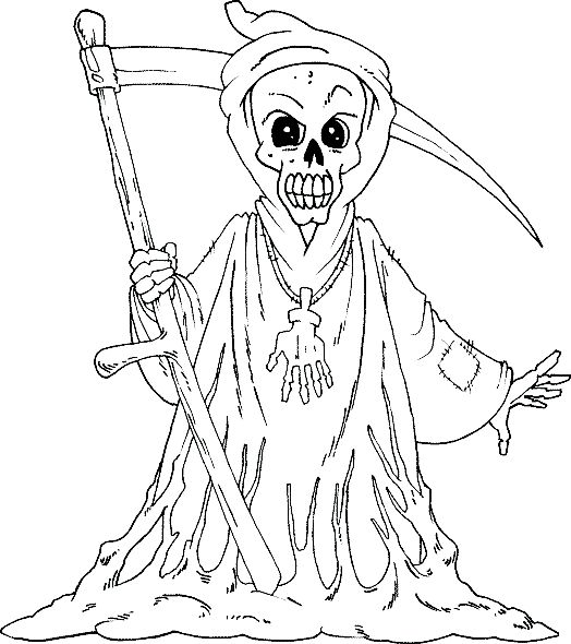 Halloween Coloring Pages Grim Reaper Boys Coloring Pages