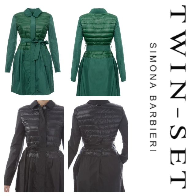 Trench Coat | with quilted bodice, hidden buttons on front and belted tie at waist | 2014 Twin-Set Simona Barbieri Collection | Available in Natural | Black | Green #trenchcoat #fashion
