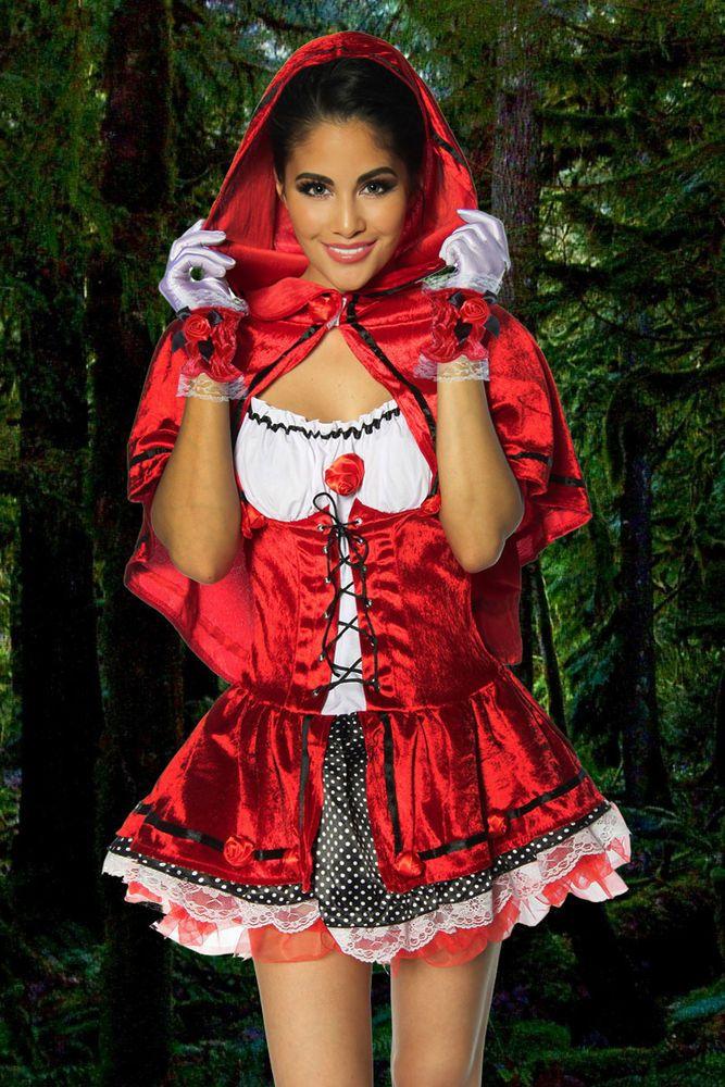 Sexy Rotkäppchen kostüm Damen Halloween Karneval Kostüm Märchen Kleid Gr.XS-M