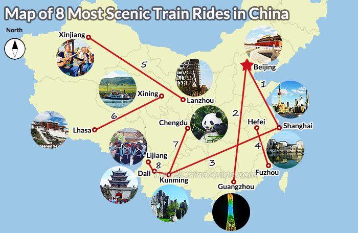 Most Scenic Train Routes in China include Beijing-Shanghai, Beijing-Guangzhou, Shanghai-Kunming, Hefei-Fuzhou, Lanzhou-Xinjing, Xining-Lhasa, Chengdu-Kunming, Kunming-Dali-Lijiang.