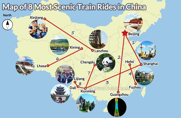 Most Scenic Train Routes in China include Beijing-Shanghai, Beijing-Guangzhou, Shanghai-Kunming, Hefei-Fuzhou, Lanzhou-Xinjing, Xining-Lhasa, Chengdu-Kunming, Kunming-Dali-Lijiang.