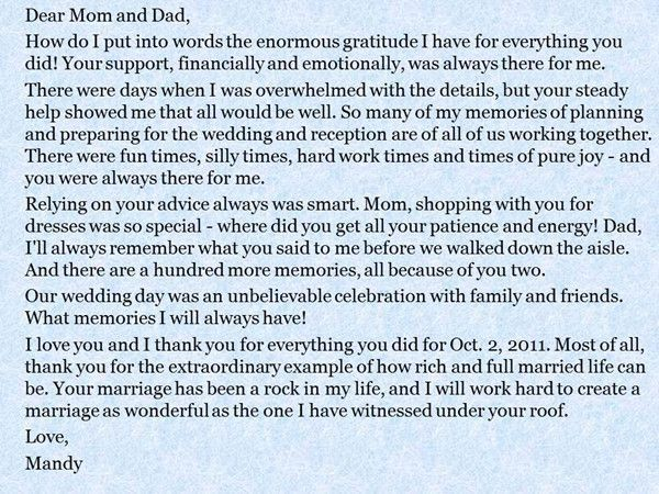 Quotes About Wedding Groom And Bride Message To Their Parents