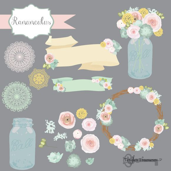 Pastel Ranunculus Flower Clipart by Tangle's Treasures on Creative Market