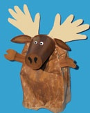 Moose Puppet Craft (with handprint antlers!)