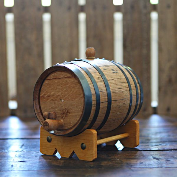 Handcrafted 2-liter Oak Barrel used to age your own beer, wine and liquor at home!  Add years of aging flavor in only weeks.  Age whiskey, bourbon, tequila, scotch, vodka, gin, hot sauce, vinegar, beer and wine!  Great for gifts, dad, grandfather, man room, man cave, home brewer, home distiller and wine maker.  Can be engraved for weddings & groomsmen gifts. $64.99 at www.longhornbarrels.com