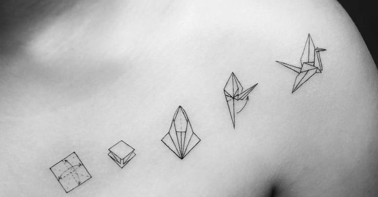 Tattoo Artist: Jay Shin. Tags: styles, Illustrative, Line Art, origami, Origami Cranes. Body parts: Shoulder, Chest.