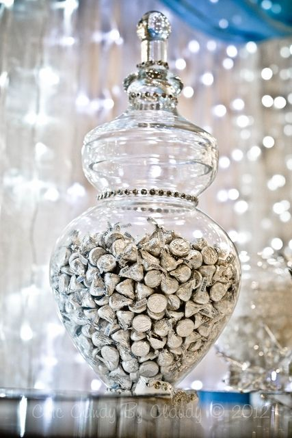 Hershey kisses in a beautiful vase, there are so many colors you can go so many places with that