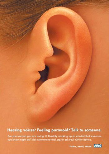 """The interactive version of this NHS poster campaign uses audio and visuals to show the voice """"whispering"""" into the woman's ear. Via Canva."""