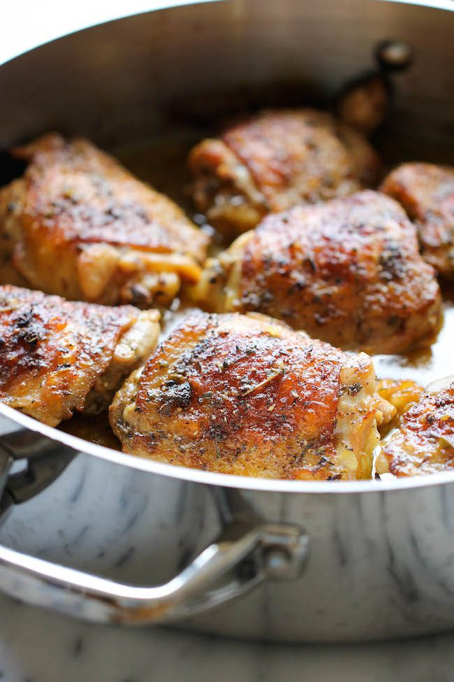 Pan Roasted Lemon Chicken - These chicken thighs are amazingly crisp and flavorful, and you won't believe how easy this is to make! | DamnDelicious.net | #chicken_ recipes, #dinner_ideas