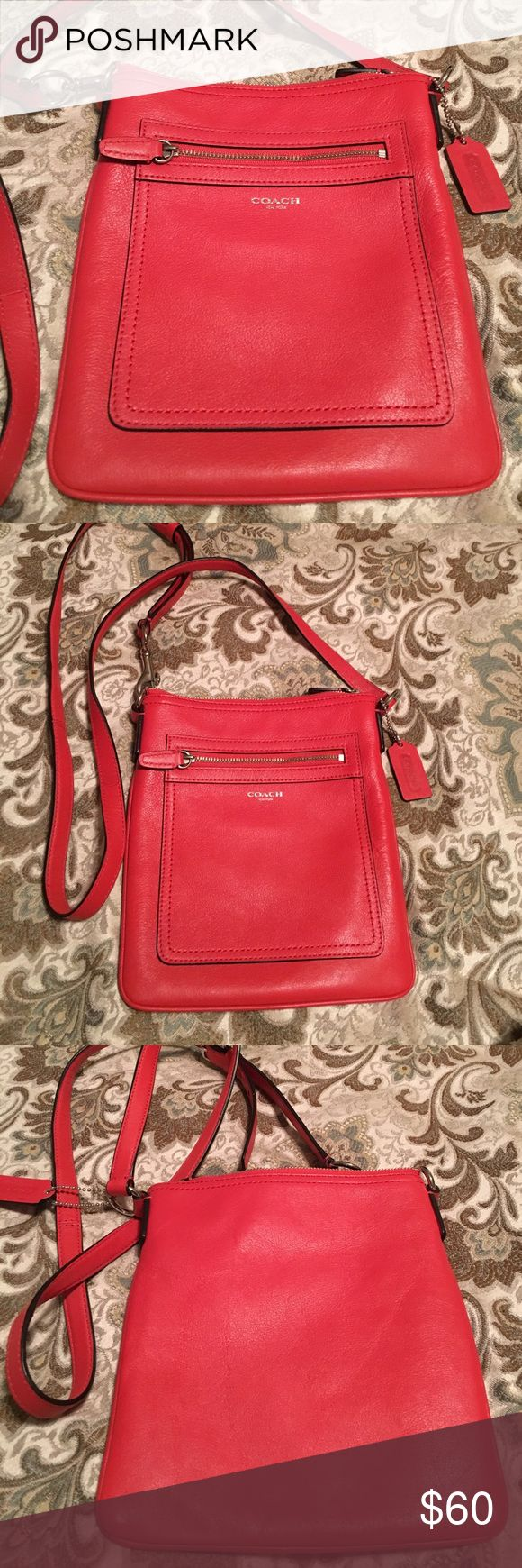 "Coach Legacy Crossbody Beautiful coral red color and LIKE NEW inside and out!! Smoke free home. Adjustable strap, outside zipper pocket. Approx 9"" h x 8""'w. Coach Bags Crossbody Bags"