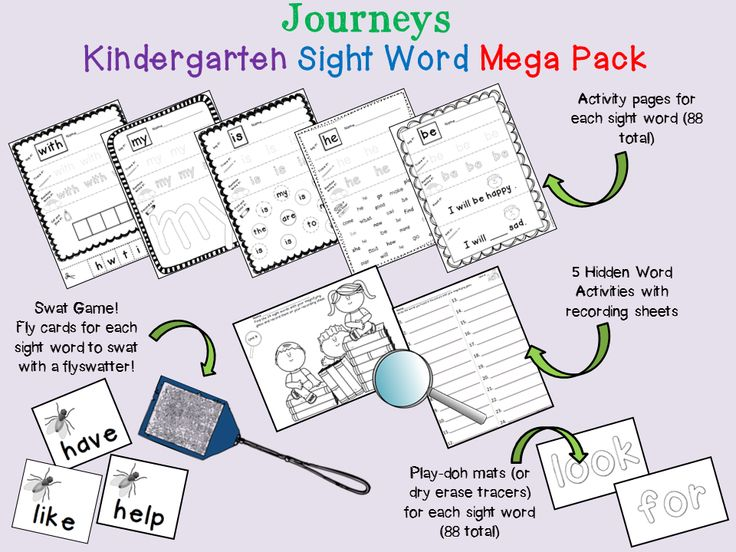Journeys Kindergarten.  (2014 edition) Everything you need to reinforce the 88 Journeys kindergarten sight words.  Also available for 2011 edition.