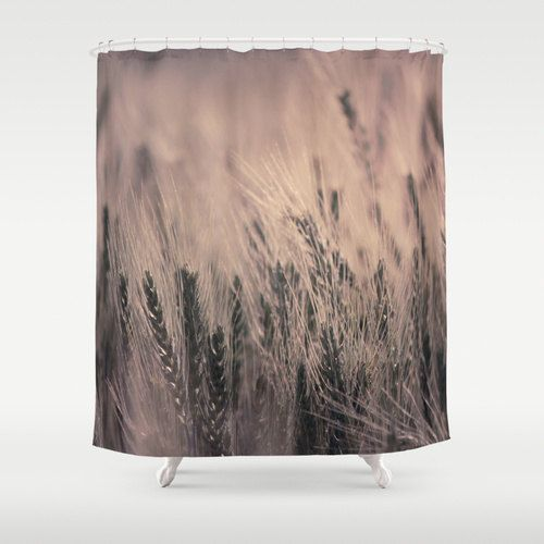 Pink Barley Shower Curtain, Washable Fabric, Pink Bathroom Decor, Nature Photography - pinned by pin4etsy.com