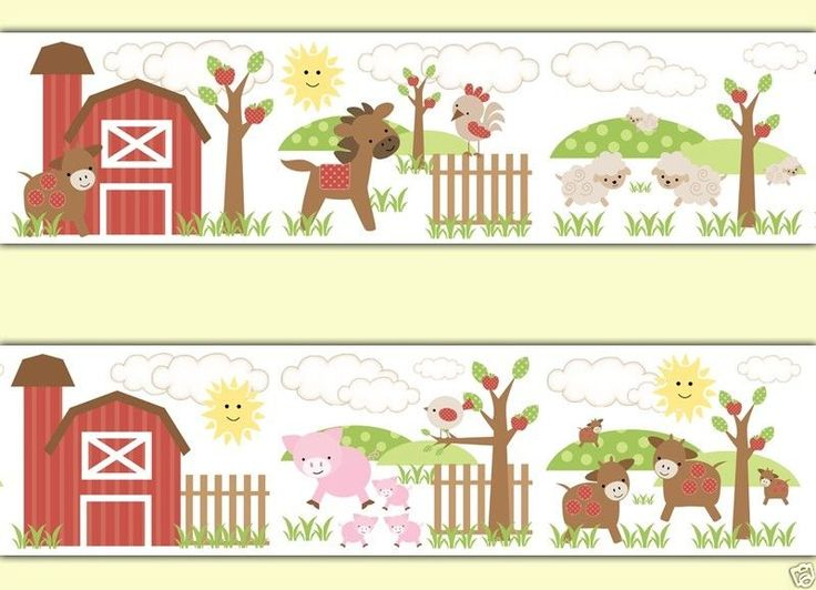 Barnyard Animals Wallpaper Border Wall Decals for Baby Boy