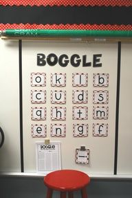 Classroom Boggle- for kids who finish early! First off, I LOVE boggle!! Secondly, this is an awesome way to keep kids busy if they finish early and it would be easy to change some letters at the end of each day or the next morning!
